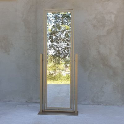 Italian Brass double Mirror with one side in blue Mirror, 1970s