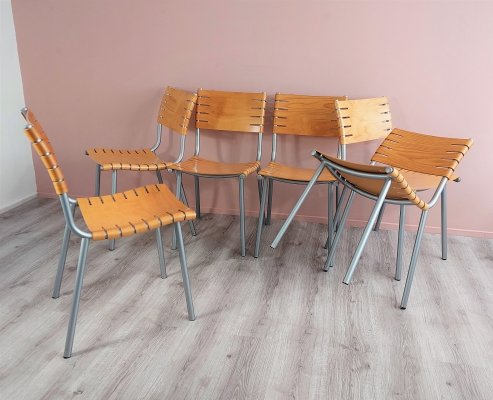 Set of 6 Plywood Dining Chairs by Ruud Jan Kokke for Harvink