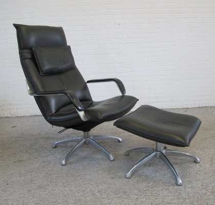 Rare vintage Lounge chair with ottoman by Co.fe.mo, Italy 1970s