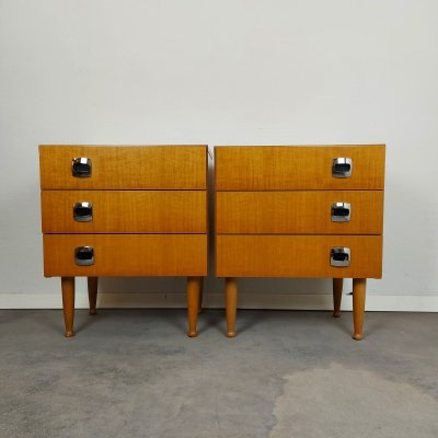 Pair of Bedside tables / Nightstands, 1970s