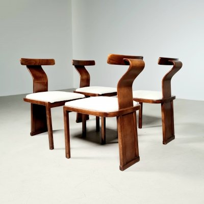 Set of 4 vintage Italian walnut & boucle dining chairs, 1970s
