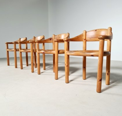 Set of 4 pinewood dining chairs by Rainer Daumiller, 1960s