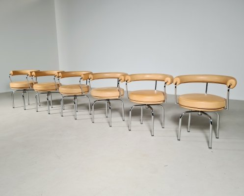 Set of 6 Cassina LC7 chairs by Charlotte Perriand & Le Corbusier, 1970s