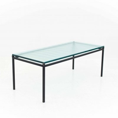 Long living room table with glass top, 1970s
