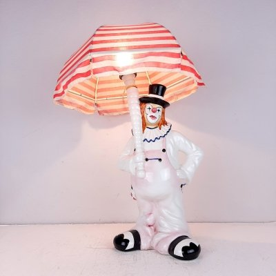 Vintage large ceramic Clown table lamp, Italy 1960s