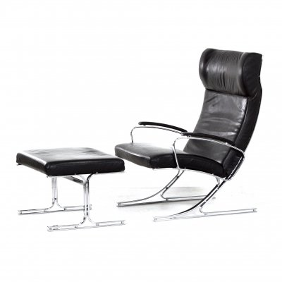 Berlin Lounge Chair with Footstool by Meinhard von Gerkan for Walter Knoll, 1970