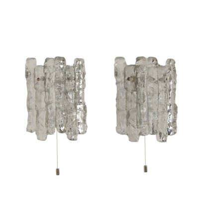 Pair Wall Lamps in Frosted Ice Glass by J. T. Kalmar for Kalmar Franken KG, 1960