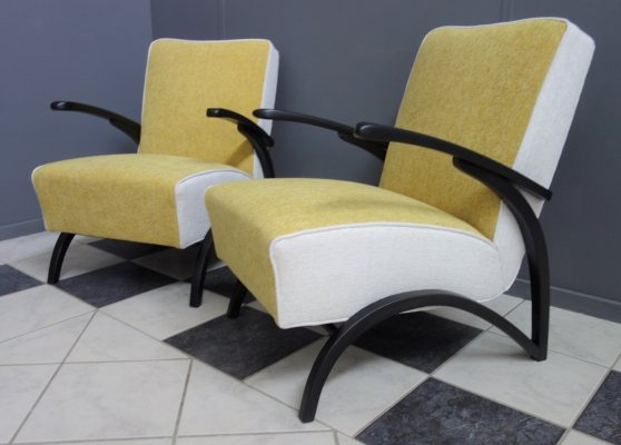 Pair of yellow & white chairs by Jindřich Halabala, 1930s