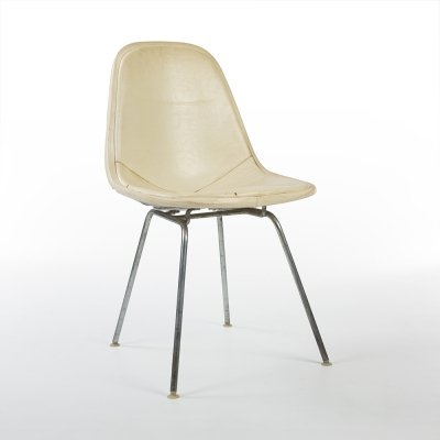White Vinyl White Wire Eames DKX Dining Chair by Herman Miller