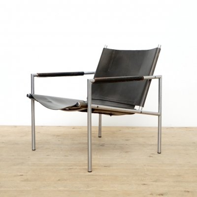First edition Martin Visser leather easy chair for Spectrum, 1960s