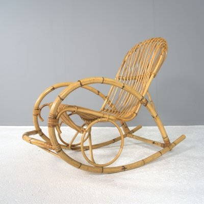 Dutch Bamboo rocking chair by Rohé Noordwolde, 1960s