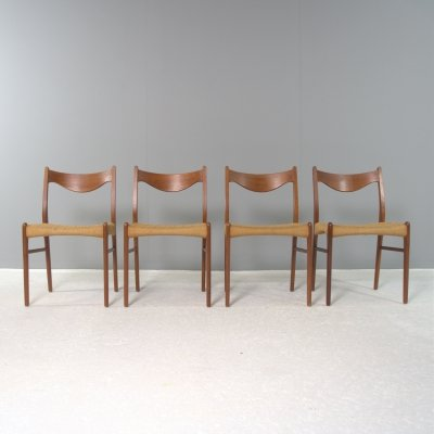 4 Dining chairs No GS61 by Arne wahl Iversen for Glyngøre Stolefabrik Denmark