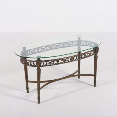 Mid- Century bronze side table with engraved glass top, 1950's Italy