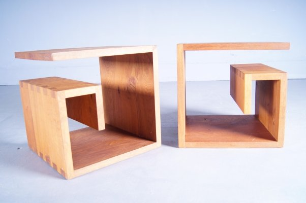 Solid Oak Circumferential Side-Tables, 1990s