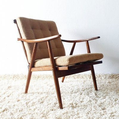 Mid century Boomerang armchair in grey cloth by TON, 1960s