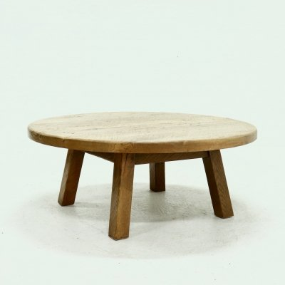 Brutalist Solid Oak Round Coffee Table, 1970s