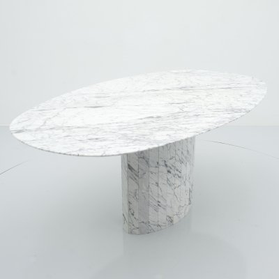 Large Oval Carrara Marble Dining Table, Italy 1970s