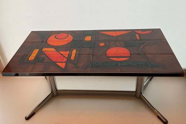Vallauris coffee table with chrome base & 18 ceramic tiles signed 'La Grange', 1960s