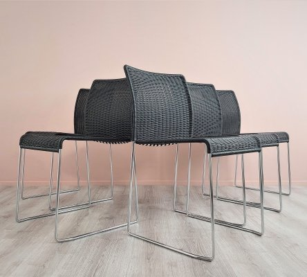 Stackable 'S21' Dining Chairs by Tito Agnoli for Bonacina, 1980's