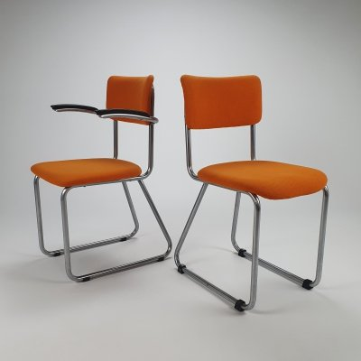 Set of 2 Tubular Frame Chairs by Fana Metal Rotterdam, 1930s