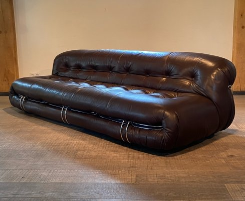 Cassina Soriana sofa in bordeaux brown leather by Afra & Tobia Scarpa, 1970s