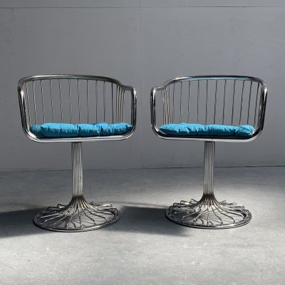 Set of 2 Mid-Century Modern wire chairs by Tacke, Germany 1960s