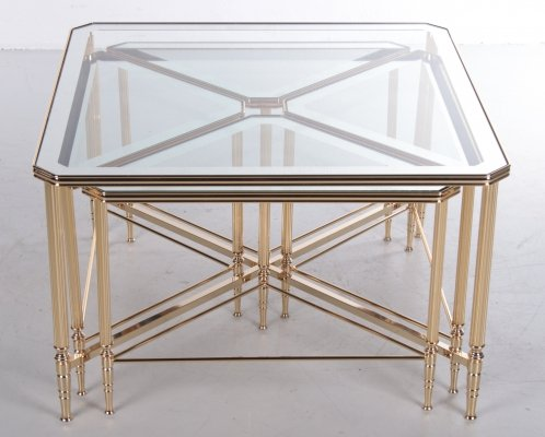 Hollywood Regency Italian 5 Piece Side Tables with Brass Frames & Mirror Tops