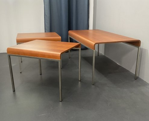 Set of 3 Coffee Tables in Beech Wood & brushed Steel, Italy 90s