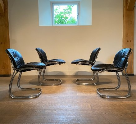 Set of 4 'Sabrina' Dining chairs by Gastone Rinaldi for Rima, Italy 1970s
