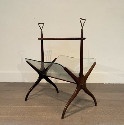Mahogany, Glass & Brass Magazine Rack by Cesare Lacca for Cassina, 1950s