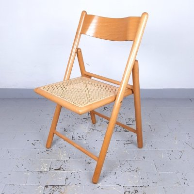 Retro folding chairs with rattan seat, Italy 70s