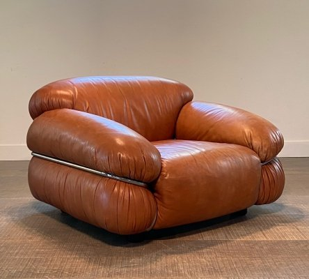 Sesann lounge chair in cognac leather by Gianfranco Frattini for Cassina, 1970s