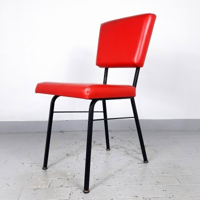 Retro red dining chair by Mobili Polli, Italy 1969