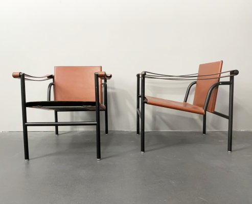 LC1 Armchairs by Le Corbusier, Pierre Jeanneret, Charlotte Perriand for Cassina, 1970s