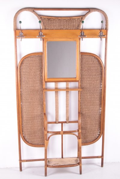 French Bamboo Wall Unit / Wardrobe with coat rack & mirror, 1960s