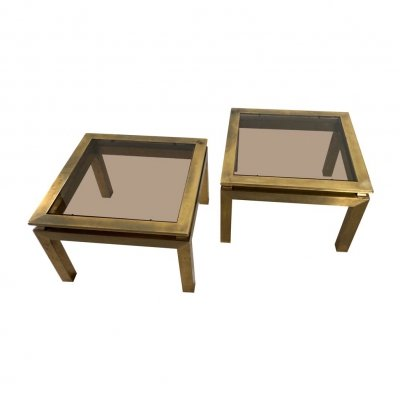 Pair of square shaped Hollywood Regency cocktail tables, 70s