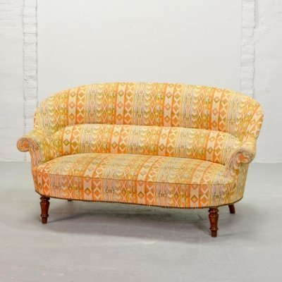 Elegant French Two-Seat Canapé Sofa with High Quality Fabric Upholstery, 1960s