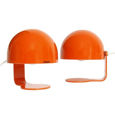 Pair never used orange metal bedside / desk lamps by iGuzzini, Italy 1970s