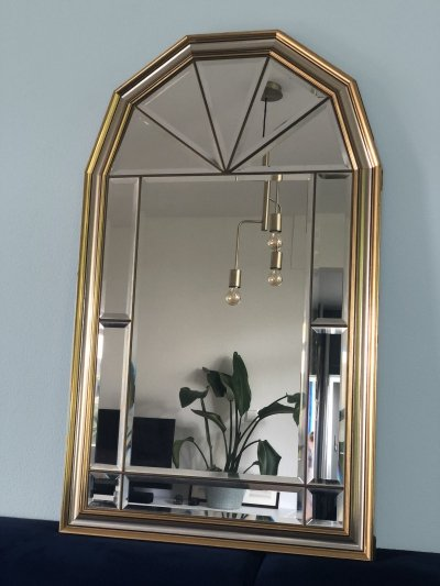 Hollywood Regency Facet Cut Mirror In Gold And Silver, 1980s