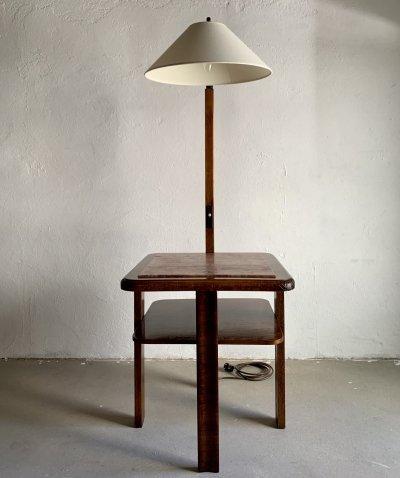 Vintage Floor Lamp with a Marble Top Side Table, 1940s