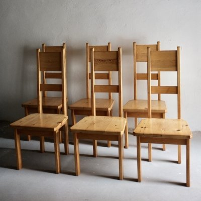 Set of 6 Pine High-Back Dining Chairs by Roland Wilhelmsson for Karl Andersson & Söner, 1960s