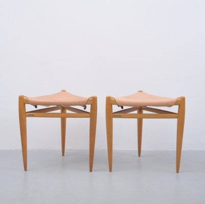 Pair of stools by Uno & Östen Kristiansson for Luxus, 1950s