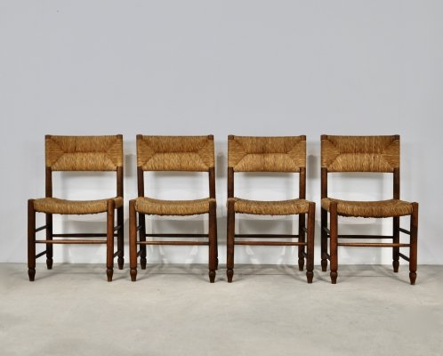 Set of 4 chairs in wood & rope, 1950s