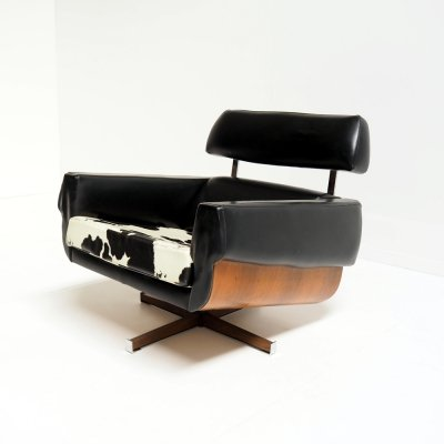 Mad Men chair in rosewood & skai leather, 1960's