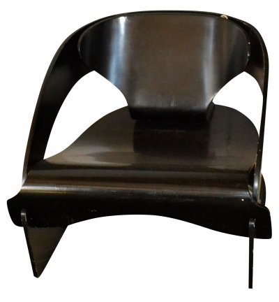 Black armchair No. 4801 by Joe Colombo for Kartell, 1960s