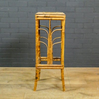 Small Square Mid-Century Modern Bamboo Plant Stand