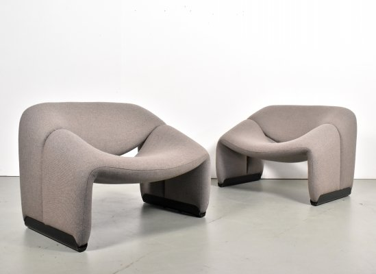 Pair of Groovy M-Chairs by Pierre Paulin for Artifort, 1970s