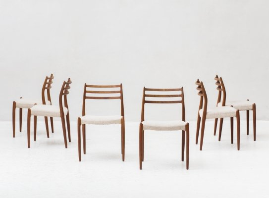 Set of 6 'model 78' dining chairs by Niels O. Moller for J.L. Moller, Denmark