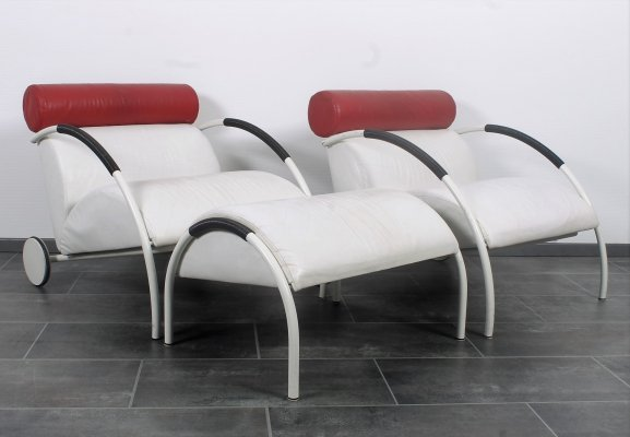 Rare set of Zyklus chairs & hocker by Peter Maly for Cor in white leather
