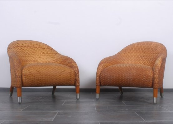 Rare set of leather woven 'Kalos' lounge chairs by Antonio Citterio for B&B Italia, 1990s
